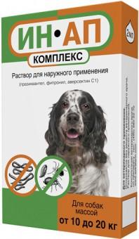 ИН-АП Комплекс Капли для собак 10 - 20 кг, 2 мл от блох, клещей, круглых и ленточных гельминтов