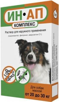 ИН-АП Комплекс Капли для собак 20 - 30 кг, 3 мл  от блох, клещей, круглых и ленточных гельминтов