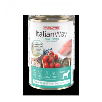 Italian Way (Италиан Вэй) 400 г консервы для собак: профилактика аллергии, форель и черника, низкокалорийные , Ideal Weight Trout/Blueberry
