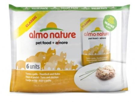 6шт Almo Nature 55гр паучи для кошек с ассорти курицей, Assorted chicken recipes with:shrimps, fillet, whitebait