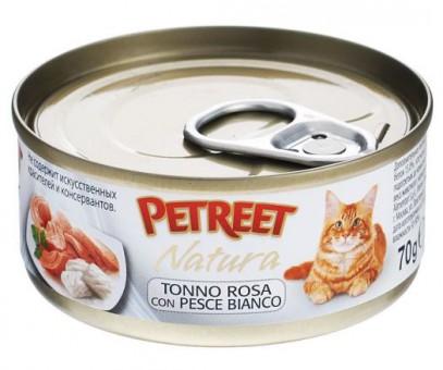 6шт Petreet 70г Natura tuna gilthead Консервы для взрослых кошек кусочки розового тунца с рыбой дорадо