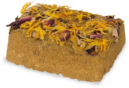 JR FARM Натуральный минеральный суглинистый камень с цветками для грызунов 1шт