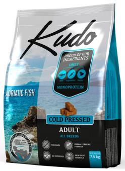 Kudo 2,5 кг Adult Dog All breed Adriatic Fish беззерновой сухой корм холодного прессования для взрослых собак всех пород Адриатическая рыба (Сардина)