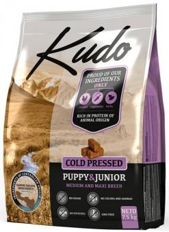 Kudo 7,5 кг Puppy & Junior Medium & Maxi breed Chicken беззерновой сухой корм холодного прессования для щенков средних и крупных пород Цыпленок