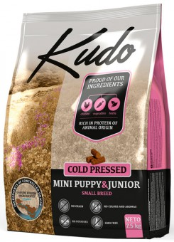 Kudo 2,5 кг Puppy & Junior Mini breed Chicken беззерновой сухой корм холодного прессования для щенков мини пород Цыпленок