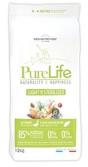 Flatazor 12 кг Pure LIFE Light/Sterilized Сухой корм для стерилизованных и склонных к избыточному весу собак, утка и белая рыба