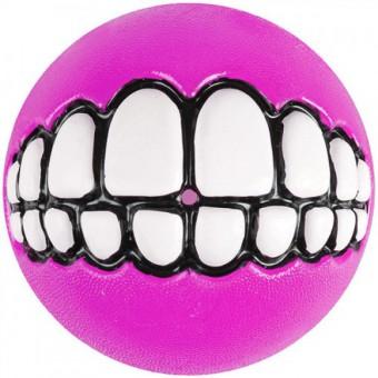 Мяч с принтом зубы и отверстием для лакомств GRINZ малый, розовый (GRINZ BALL SMALL) GR01K
