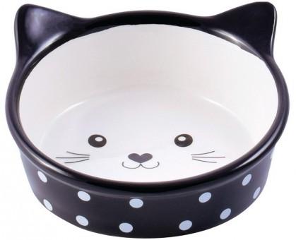 КерамикАрт Миска для кошек Мордочка Кошки Черная 250 мл