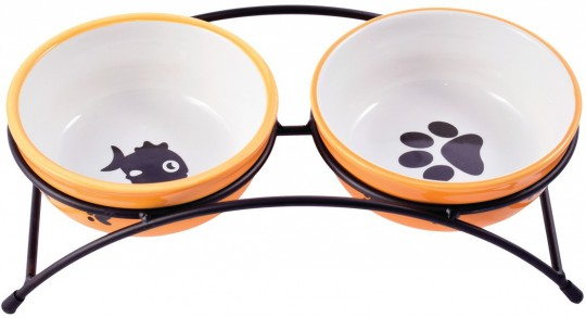 КерамикАрт Миски для кошек и собак с рыбкой и лапкой 290 мл оранжевые на подставке