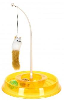 N1 28*5*28см Интерактивная игрушка для кошек Лабиринт круглый с двумя мячиками и дразнилкой