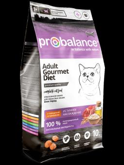 Probalance 10 кг Gourmet Diet Beef & Rabbit сухой корм для кошек с говядиной и кроликом