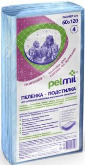 Петмил 60*120*4шт Пеленка-подстилка впитывающая одноразовая для кошек и собак