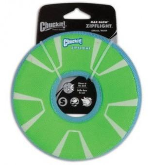 Chuckit Zipflight Max Glow Med Игрушка для собак - Диск для фрисби, светящийся в темноте, мягкая, средняя