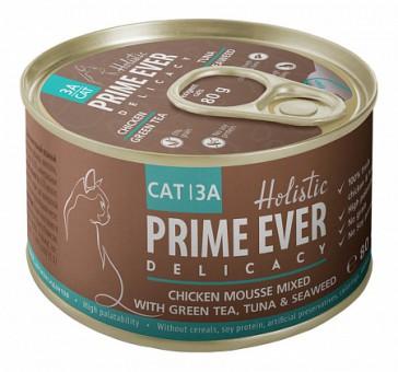 Prime Ever 80 г 3A Delicacy Мусс цыпленок с тунцом с зеленым чаем и водорослями влажный корм для кошек жестяная банка