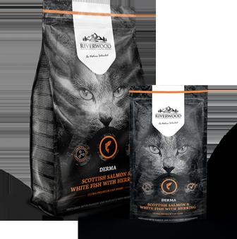 Riverwood Derma 300г (Scottish Salmon, White Fish, Herring) сухой корм для кошек для здоровья кожи и шерсти с Шотландским лососем, белой рыбой и сельдью