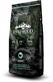 Riverwood Puppies 12кг Duck Turkey Pheasant сухой корм для щенков с индейкой, уткой, фазаном и травами