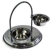 Миски регулируемые винтовые, дуговые на подставке 2 металлические миски диаметр 14см350 мл, высота до 20см