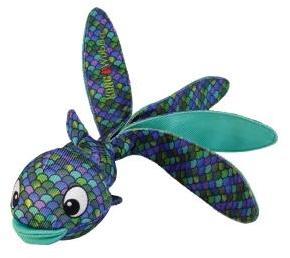 KONG игрушка для собак Wubba Finz Рыба L, с пищалкой, синяя