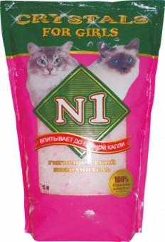N1 Силикагелевый наполнитель (Crystals), 2кг: для кошек розовый