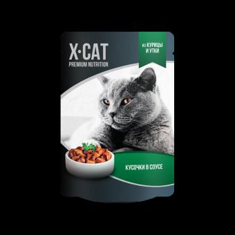 X-Cat 85г Паучи для взрослых кошек с курицей и уткой в соусе, 24шт