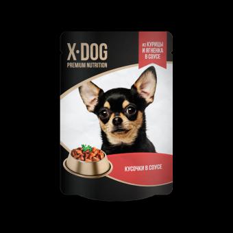 X-Dog 85г паучи для собак кусочки курицы и ягненка в соусе, 24шт