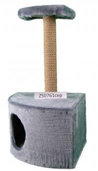 Домик-когтеточка угловой с полкой, (мех, джут, поролон), 35*35*70 (h) см