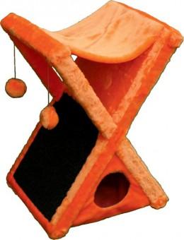 "Когтеточка, ""Икс"" (домик+гамак), (мех, ковролин), 40*40*75 (h) см"